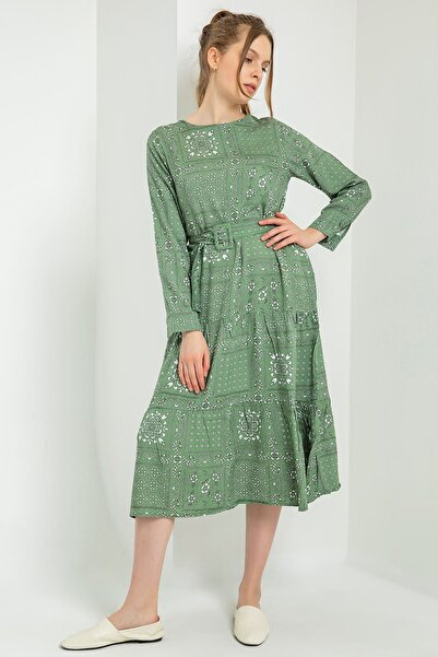 BY H Etnik Desenli Fırfır Detay Elbise Haki