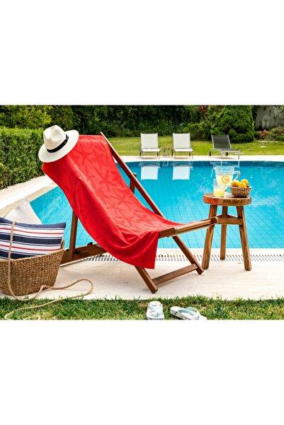 Madame Coco Cadencia Jakarlı Plaj Havlusu - Kırmızı - 75x150 Cm