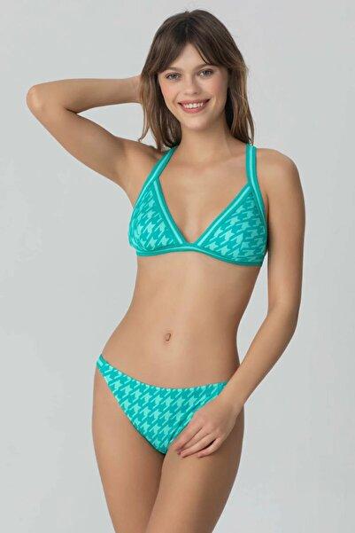 Kom Kadın Yeşil Pieden Kaz Ayağı İnce Alt Bikini