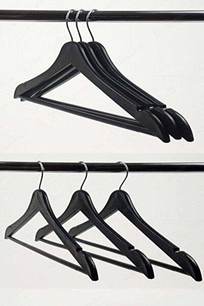 Karin Gülşahhome 12 Adet Siyah Ahşap Görünümlü Elbise Askısı 12 Adet