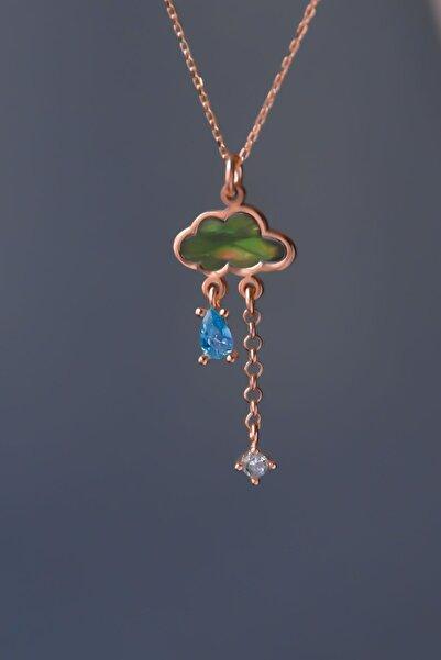 Papatya Silver 925 Ayar Gümüş Rose Kaplama Yeşil Sedef Taşlı Yağmur Bulut Kolye