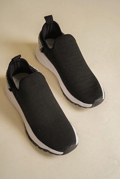 Emre Tunca Kadın Siyah Triko Taşlı Rahat Spor Ayakkabı