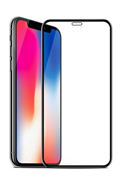 Unipha Iphone X Uyumlu Temperli Cam Full Ekran Koruyucu Siyah