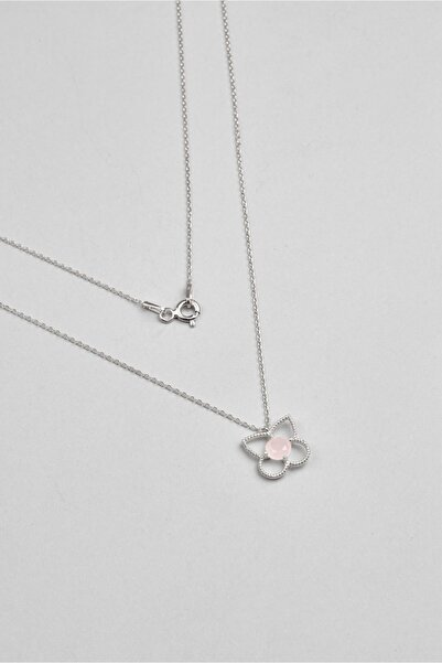 So CHIC... Kristal Çiçek 18 Ayar Beyaz Altın Kaplama Gümüş Kolye