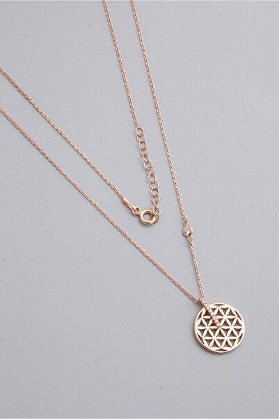 So CHIC... Yaşam Çiçeği 18 Ayar Rose Altın Kaplama Gümüş Kolye