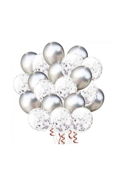 BalonEvi Gümüş Konfetili Balon Seti - 20 Adet