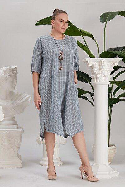 RMG Kadın Asimetrik Kesim Aksesuarlı Büyük Beden Indigo Elbise