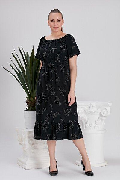 RMG Kadın Yaka Büzgülü Baskılı Siyah Büyük Beden Elbise