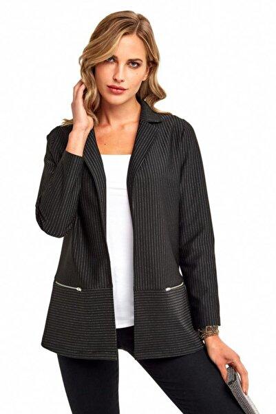 İKİLER Kadın Siyah Simli Çizgili Fermuar Cepli Ceket