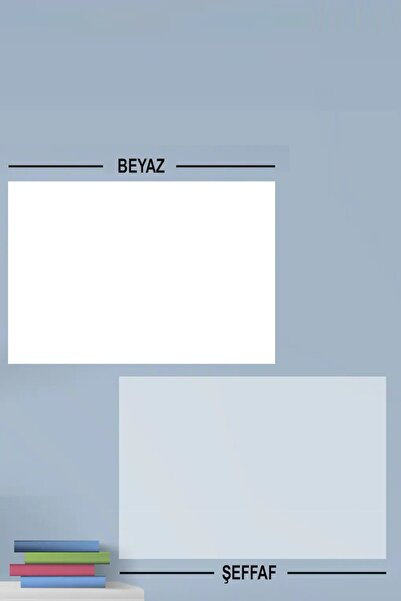 Evbuya 1 Şeffaf - 1 Beyaz Yapışkansız Bantsız Tutunan Statik Akıllı Kağıt 60-100 Cm (2'Sİ BİR ARADA)