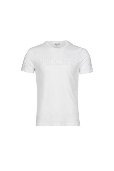 Timberland Erkek Beyaz Üç Boyutlu Baskılı Logo Kısa T-Shirt Slim Fit