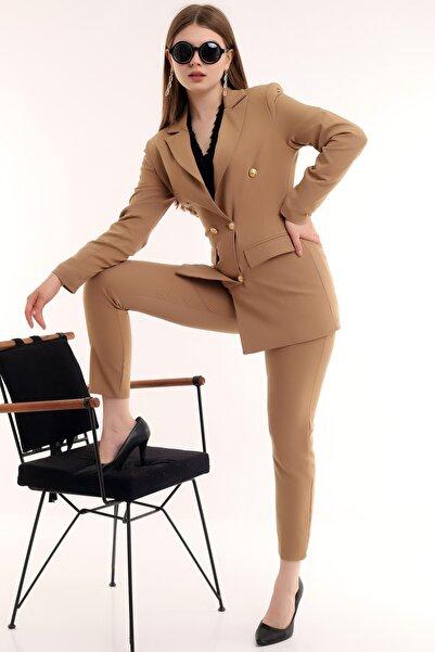 Tuba Style Kadın Cep Kapamalı Düğmeli Ceket Dar Paça Kemerli Toparlayıcı Pantolon Likralı Blazer Takım Elbise