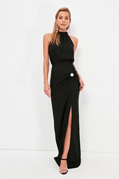 Siyah Taş Aksesuar Detaylı  Abiye & Mezuniyet Elbisesi TPRSS21AE0332