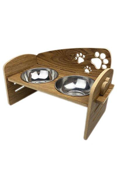 HELİXSUN Ahşap Yüksekliği Ayarlanabilir Kedi Ve Küçük Irk Köpek Mama Ve Su Kabı Çelik Kaseli