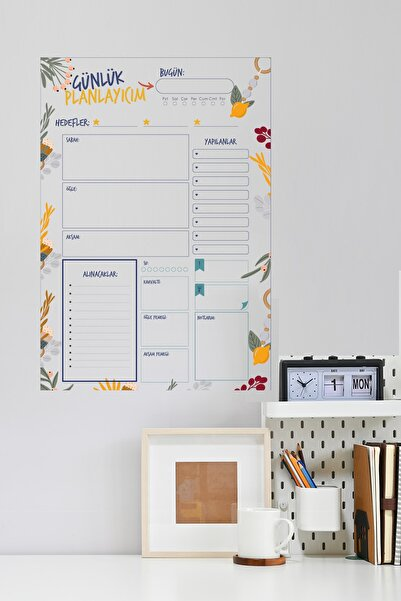 Evbuya Günlük Planlayıcı - Yapışkansız Tutunan Akıllı Kağıt & Silgili Tahta Kalemi Hediyeli