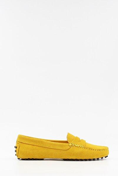 West To West Kadın Loafer Ayakkabı Deri Sarı Süet