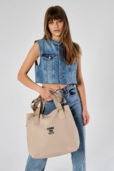 Shule Bags Patlı Kadın Omuz Shopper Çanta Vicky Açık Bej