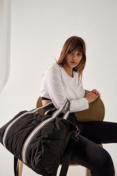Shule Bags Kadın Kapitone Desen Bavul Çanta Porto Siyah