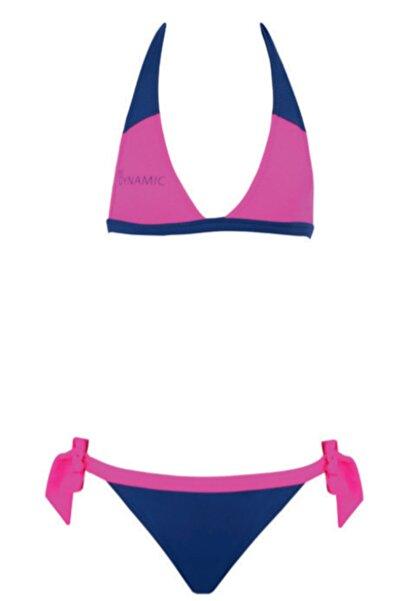Kom Gri Pembe Boyundan Bağlamalı Kız Çocuk Bikini Takımı
