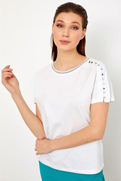 İKİLER Kadın Beyaz Yakası Simli Şeritli Kolu Metal Düğmeli Kısa Kol Bluz 021-1009