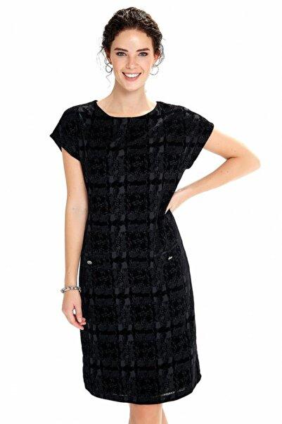 İKİLER Kadın Siyah Flock Baskılı Astarlı Süs Cepli Elbise