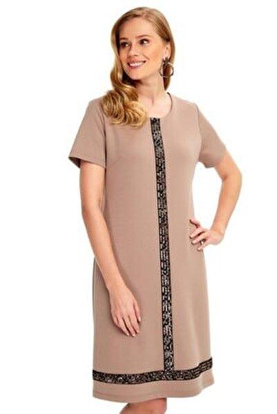 Yarım Kollu Önü Ve Eteği Payetli Elbise 020-2500