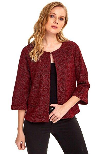 İKİLER Kadın Kırmızı Reglan Kol Cepli Simli Ceket 190-5005