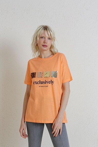 Batik A2126 Payetli Baskılı T-shirt Somon