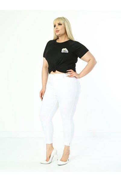 LİKRA Kadın Beyaz Büyük Beden Yırtmaçlı Full Lı Yüksek Bel Gabardin Kapri Pantolon