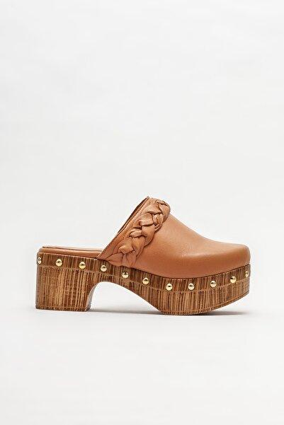 Elle Shoes Taba Deri Kadın Topuklu Terlik