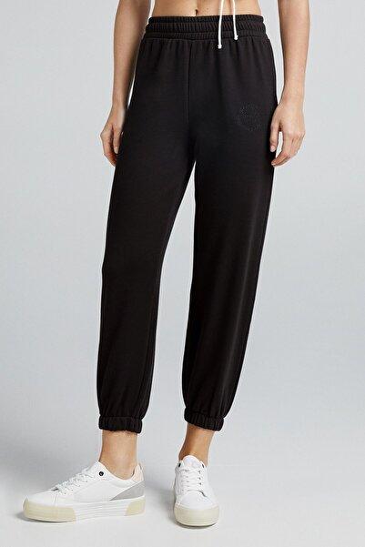 Bershka Kadın Siyah Koton Jogging Fit Pantolon