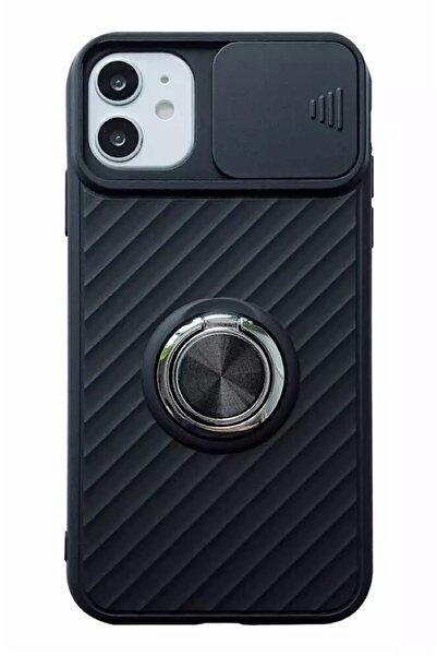 ucuzmi bulvar telefon Iphone 11  Uyumlu Slayt Kamera Lens Korumalı Kılıf Yüzüklü Standlı Mıknatıs Tutuculu Nano Boya