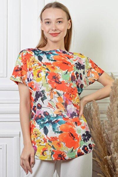 PİNKMARK Kadın Çiçek Desenli Beyaz Pamuk Büyük Beden Bluz Pmbl24498
