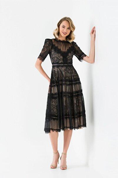 Alinçe Kadın Siyah Içi Tül Dışı Dantel Elbise