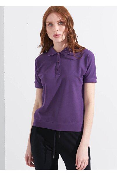 Adze Kadın Mor Basic Yarasa Kol Polo Yaka T-shirt