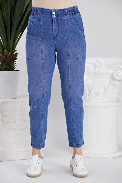 RMG Beli Lastikli Büyük Beden Mavi Pantolon