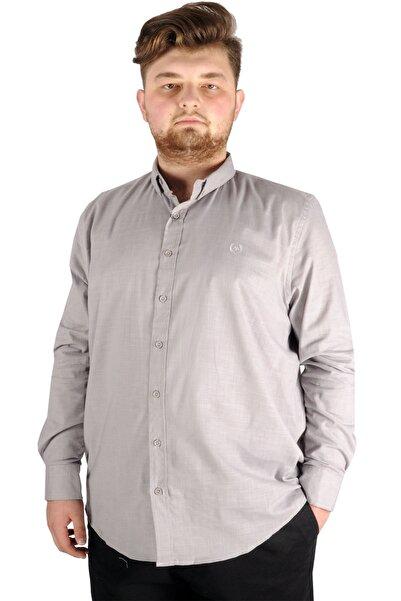 ModeXL Gömlek Uzun Kol Düğmeli Yaka 20390 Gri