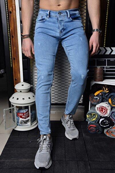 Lose Jeans Erkek Buz Mavi Skinny Fit Likralı Bilek Boy Jean