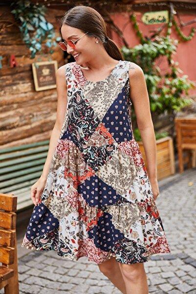 armonika Kadın Lacivert Etnik Desenli Fırfırlı Kolsuz Elbise ARM-21Y001029