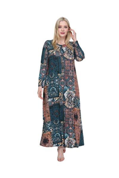 ŞENZADE Kadın Viskon Kumaş Baskı Desen Büyük Beden Elbise