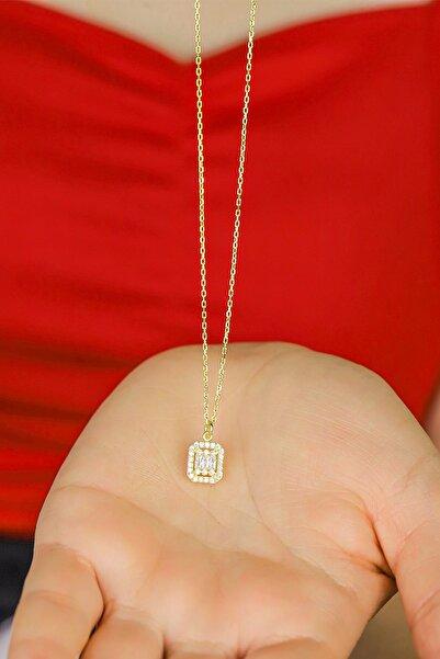 Midyat Gümüş Dünyası Kadın 925 Ayar Gümüş Üzeri Altın Kaplama Baget Kesim Gümüş Kolye