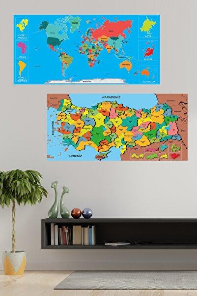 Evbuya Renkli Dünya Ve Türkiye Haritası Manyetik Yapışkansız Statik Tutunan Akıllı Kağıt
