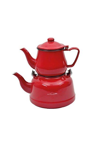 NURGAZ Campout Emaye Çaydanlık Set - Kırmızı