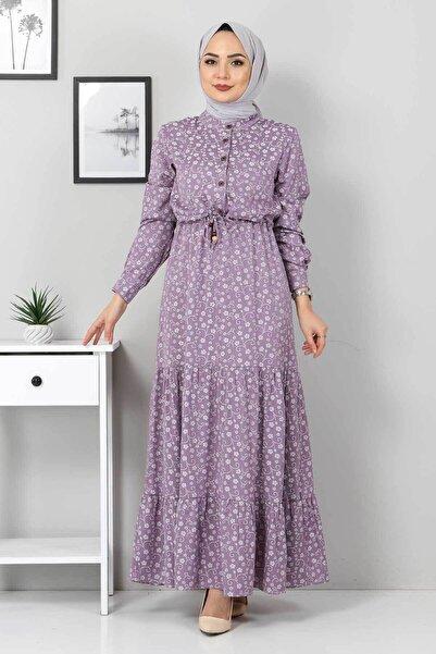 Tesettür Dünyası Beli Bağcıklı Tesettür Elbise Tsd8225 Lila
