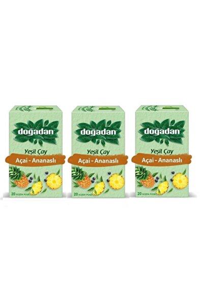 Doğadan Yeşil Çay Açai Ananaslı 20'li Bardak Poşet X3