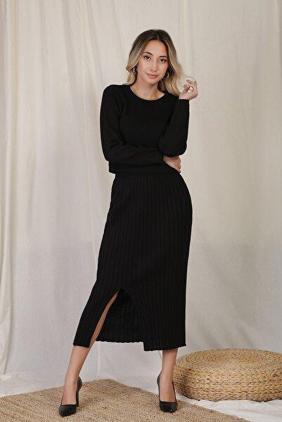 ZİNDİ Kadın 2'li Etekli Triko Takım Siyah