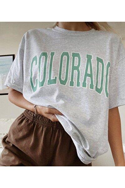 blackjack giyim Kadın Gri Colorado Baskı Oversize Tshirt