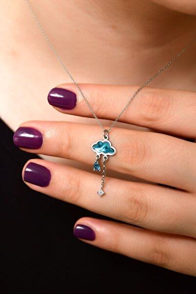 Papatya Silver 925 Ayar Gümüş Rodyum Kaplama Mavi Desenli Sedef Yağmur Bulut Kolye