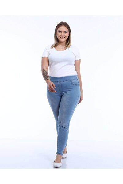 Mihrisu Kadın Likralı Tayt Pantolon Buz Mavi