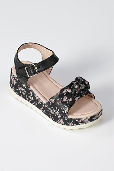 ZENOKIDO Flowers Siyah Kız Çocuk Sandalet